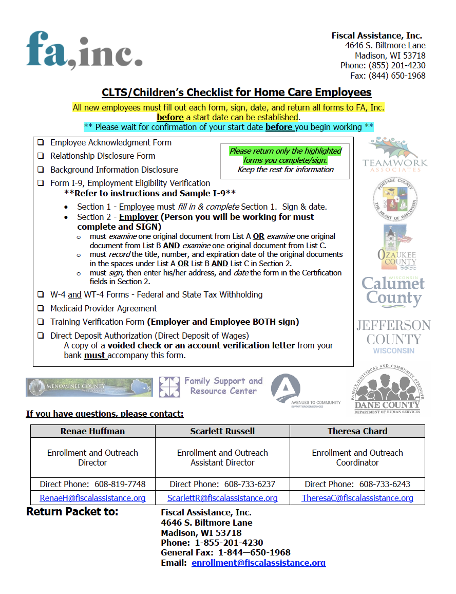 2021 CLTS/Children Employee Packet with cover sheet Thumb