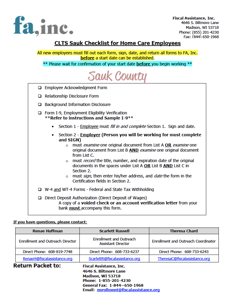 Employee Packet - CLTS Sauk